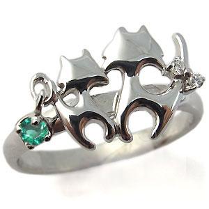 ネコ(猫)・リング・エメラルドリング・18金・指輪
