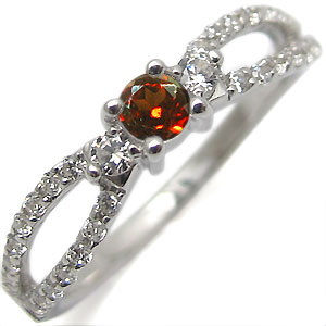 K18・ガーネット・リング・アンティーク・ダイアモンド・指輪
