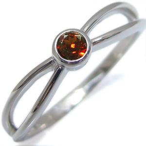 K18・指輪・ガーネット・一粒・シンプル・リング