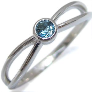 指輪・プラチナ・ブルートパーズ・一粒・シンプル・リング