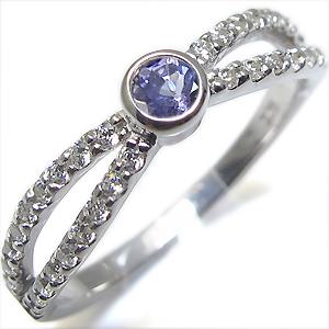 12月誕生石・タンザナイト・リング・一粒・K10・指輪