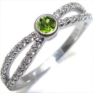 8月誕生石・ペリドット・リング・一粒・K10・指輪