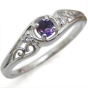 アメジスト・リング・一粒・アンティーク・K18・指輪