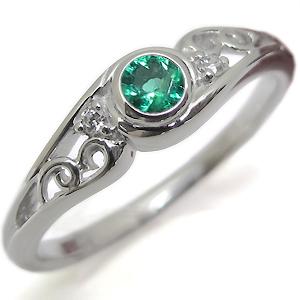 【10%OFF】4日20時~ エメラルド・リング・一粒・18金・エメラルドリング・指輪