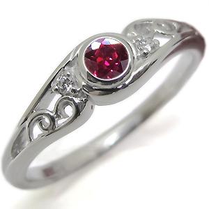 ルビー・リング・一粒・18金・ルビーリング・指輪