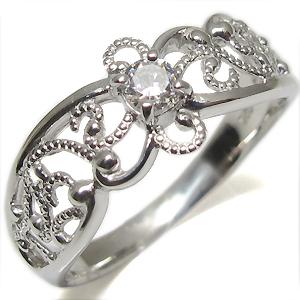 4月誕生石・ダイアモンド・エンゲージリング・一粒・アンティーク・K10・婚約指輪