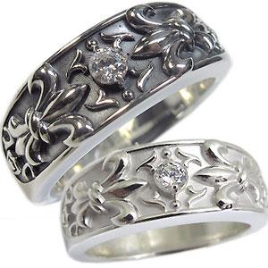 天然ダイヤモンドリング 指輪 シルバー ダイヤモンド リング 百合の紋章 クロス リング ダイヤ ペアリング
