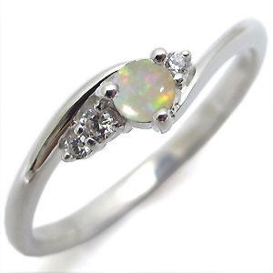 オパール・リング・一粒・シンプル・K18・指輪