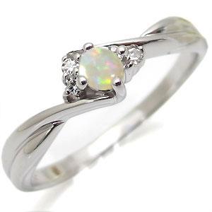 プラチナ・オパール・リング・一粒・オパールリング・指輪