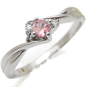 ピンクトルマリン・リング・K10・一粒・シンプル・10金・指輪