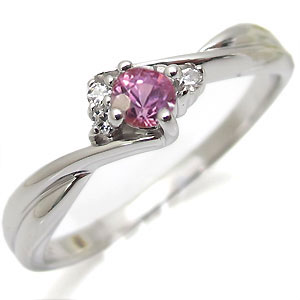 【10%OFF】4日20時~ ピンクサファイヤ・リング・K10・一粒・シンプル・10金・指輪