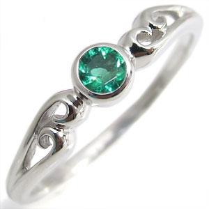 指輪・18金・シンプル・リング・エメラルド・一粒・K18・エメラルドリング