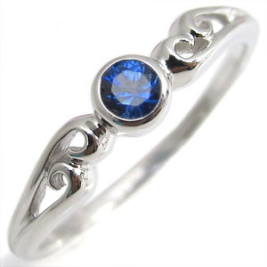 サファイヤ・リング・K10・一粒・シンプル・10金・指輪
