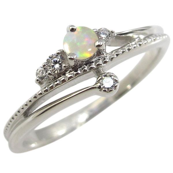 送料無料 贈物 10月誕生石 男女兼用 K18 指輪 18金 一粒 リング オパール オパールリング