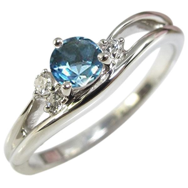 ブルートパーズ・リング・一粒・シンプル・K18・指輪