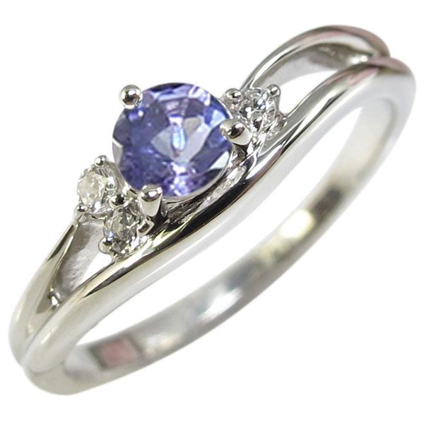 タンザナイト・リング・一粒・シンプル・K18・指輪