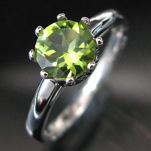 ペリドット・プラチナ・リング・王子の王冠・クラウン・指輪