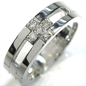 クロス ピンキーリング ダイヤモンド リング プラチナ