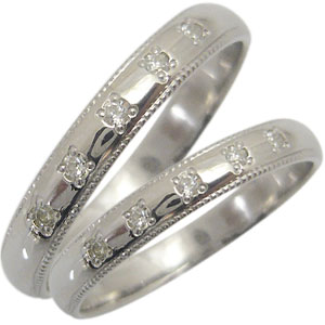 ペアリング・甲丸・プラチナ・結婚指輪・ダイヤモンド・マリッジリング