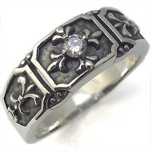 9/11 1:59迄メンズ・リング・百合の紋章・ダイヤモンドリング・指輪・シルバー・クロス・リング