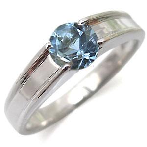 指輪・アクアマリンリング・一粒・シンプル・18金・リング