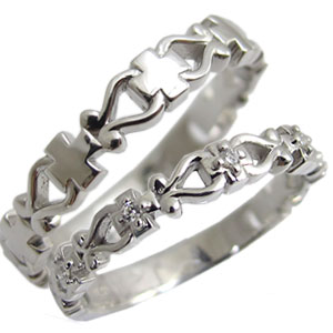 天然石ダイヤモンド・クロス・リング・ペアリング・K10・結婚指輪・マリッジリング