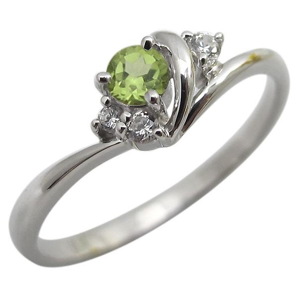 ペリドット・リング・一粒・シンプル・K18・指輪