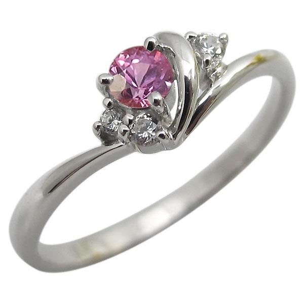 ピンクサファイヤ・リング・一粒・シンプル・K18・指輪