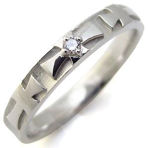 9日1:59迄 ダイヤモンド リング クロス 指輪 K10 ダイヤモンド ダイアリング