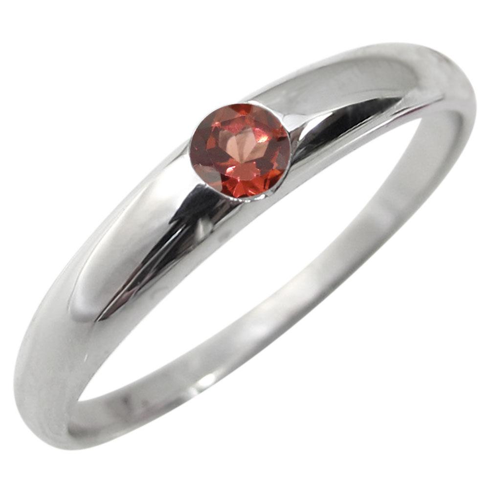 指輪 ガーネットリング 一粒 シンプル 18金 リング