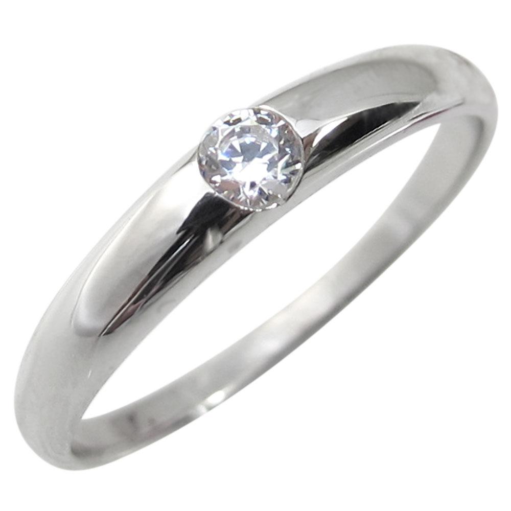 指輪・ダイヤモンドリング・一粒・シンプル・18金・リング