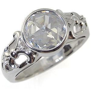 K10・キュービックジルコニア・リング・大粒・10金・アンティーク・キュービックジルコニア・指輪