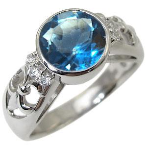 ブルートパーズ・リング・アンティーク・大粒・K18・指輪