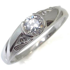 鑑定書付き・18金・唐草・アラベスク・ダイヤモンド・リング・婚約指輪・エンゲージリング