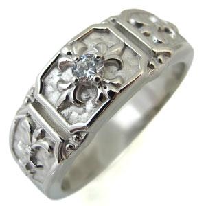 ダイヤモンドリング・クロス・メンズ・リング・百合の紋章・10金・指輪