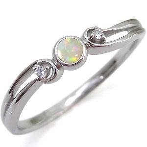オパール・シンプル・リング・一粒・K10・指輪