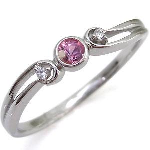 ピンクサファイア・シンプル・リング・一粒・K10・指輪