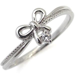 【10%OFF】4日20時~ 18金・指輪・一粒・ピンキーリング・リボン・ダイヤモンド・リング