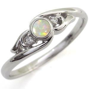 オパール・リング・一粒・K10・指輪