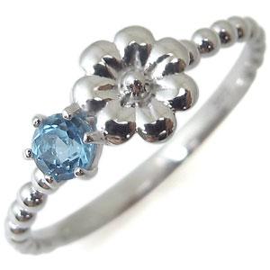 フラワー・リング・ブルートパーズ・18金・指輪・花柄・ピンキーリング