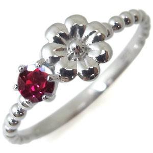 ルビー・リング・プラチナ・花柄・指輪・ピンキーリング