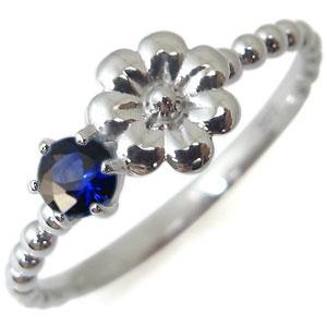 フラワー・リング・サファイア・18金・指輪・花柄・ピンキーリング