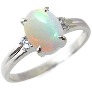 プラチナ・指輪・リング・大粒・オパール・一粒・10月誕生石