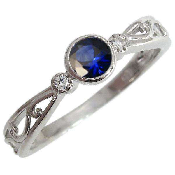 婚約指輪 サファイア エンゲージリング 一粒 9月誕生石 18金