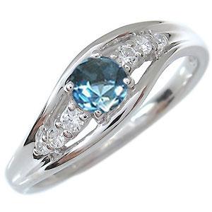 一粒・ブルートパーズ・リング・18金・指輪・11月誕生石