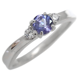 タンザナイト エンゲージリング 一粒 婚約指輪 18金 リング