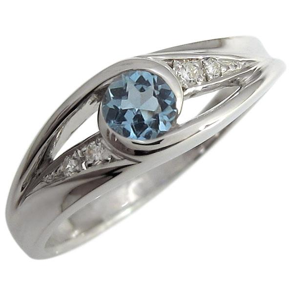 婚約指輪 アクアマリンサンタマリア エンゲージリング 一粒 18金 リング