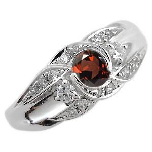プラチナ 婚約指輪 1月誕生石 ガーネット エンゲージリング 一粒