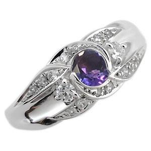 プラチナ 婚約指輪 2月誕生石 アメジスト エンゲージリング 一粒