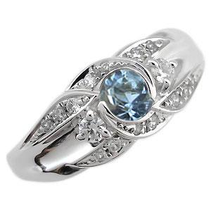 プラチナ 婚約指輪 3月誕生石 アクアマリンサンタマリア エンゲージリング 一粒